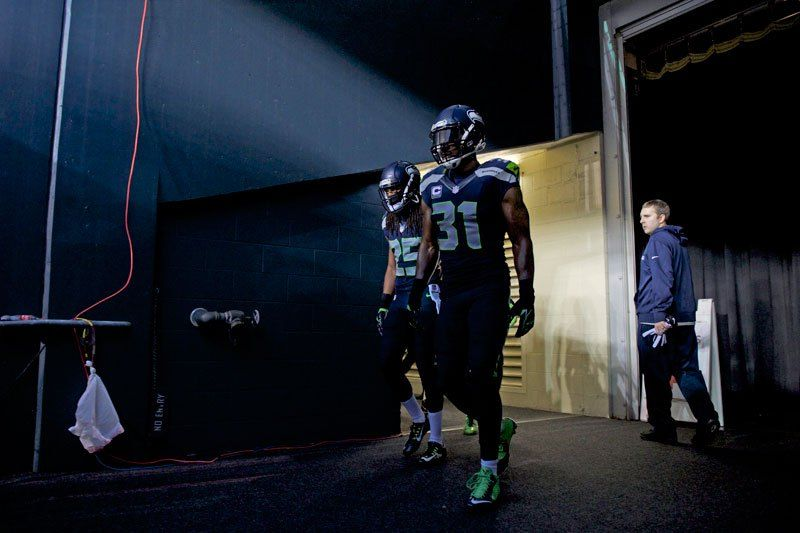 Richard Sherman and Kam Chancellor in a dark place. (Rod Mar for Sports Illusrated/The MMQB)