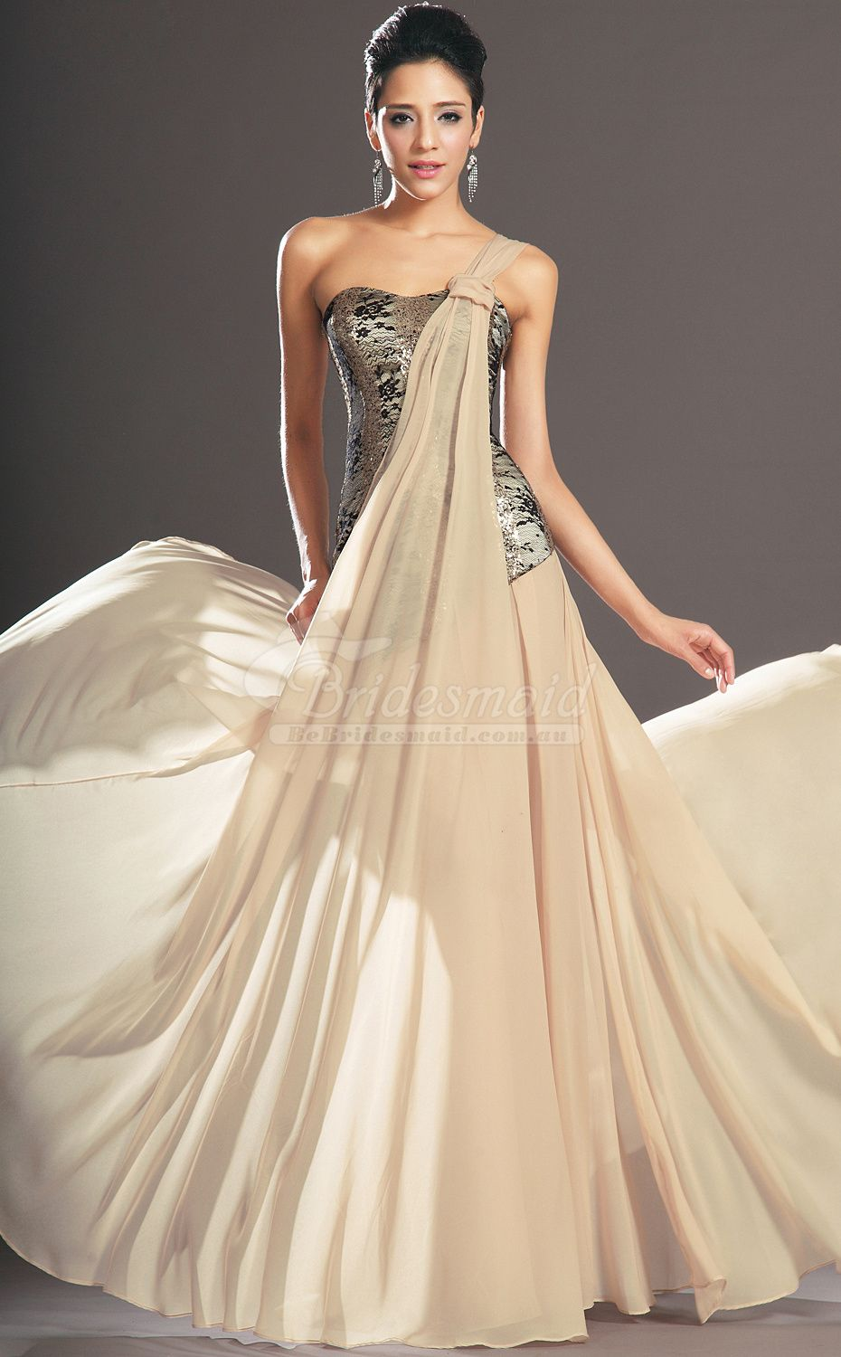 Affordable champagne lace and chiffon one shoulder long bridesmiad