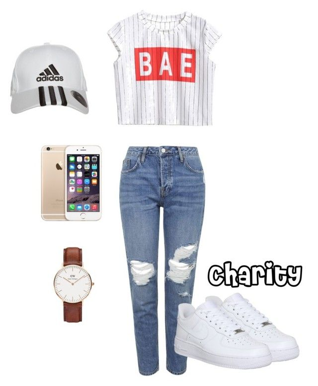 """BÆ"" by cccharity on Polyvore featuring mode, Topshop, NIKE, adidas, Daniel Wellington, women's clothing, women, female, woman en misses"