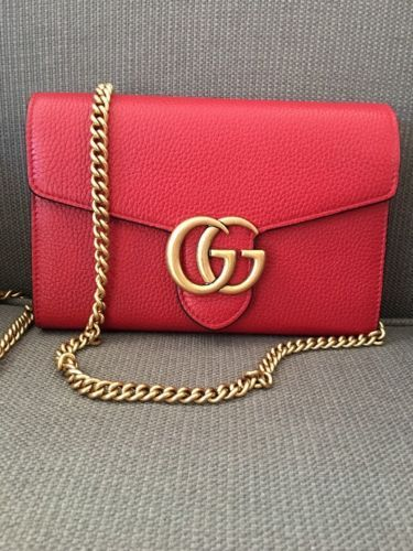 GUCCI Red Authentic Bag Gold Emblem Chain NWT Marmont Clutch - How to create invoice in word gucci outlet online store authentic