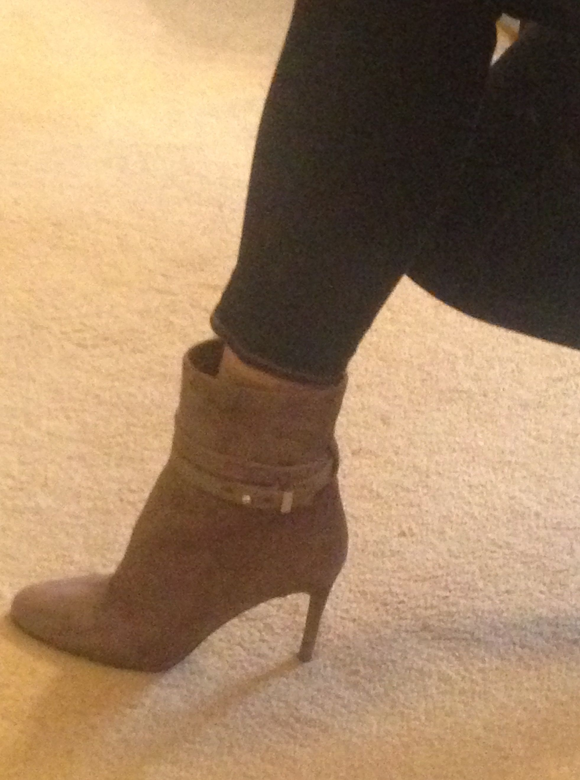 Pair 5: Birthday boots! Vince Camuto light brown suede double strap ankle boots Worn 2/20/2016 with dark skinny jeans, khaki brown tshirt, black suede fringe jacket, blue brown and tan scarf