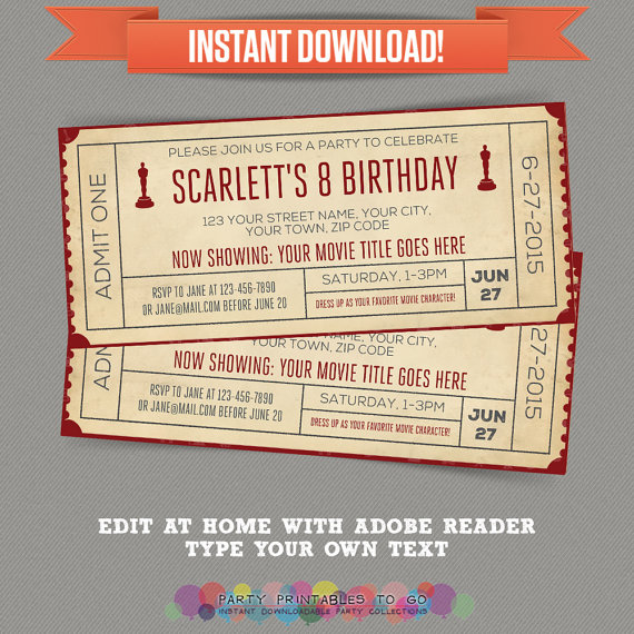 Movie Night Birthday Invitation with FREE Admission Tickets - create your own movie ticket