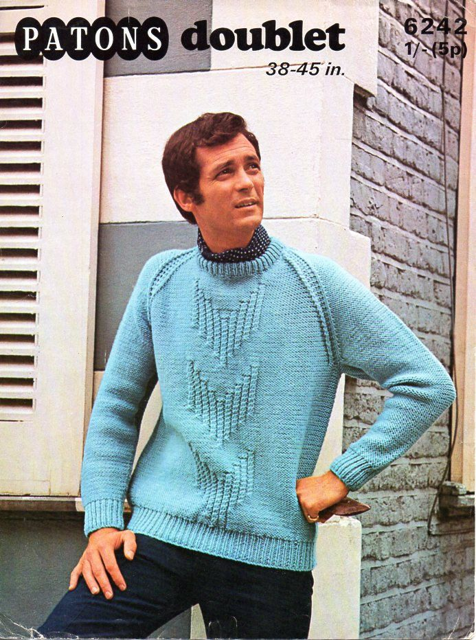 Mens chunky sweater knitting pattern pdf mans jumper crew neck ...