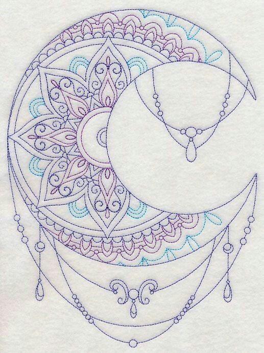 Feminine Mandala Moon Tattoo Designs