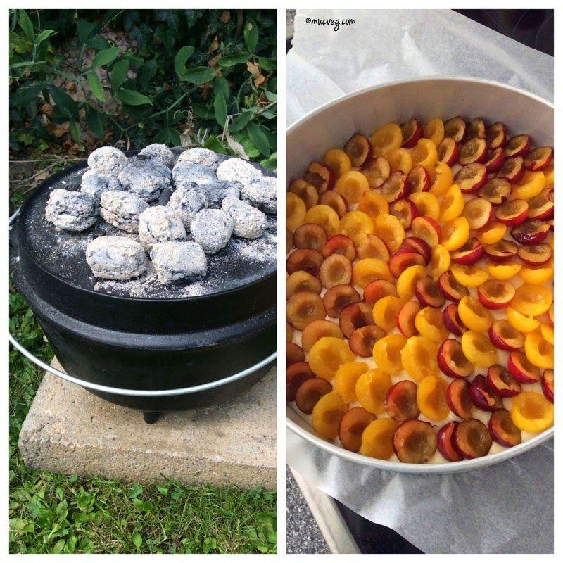 muc.veg: Heimaturlaub: Outdoorbacken im Dutch Oven: Pflaumen-Streusel-Kuchen