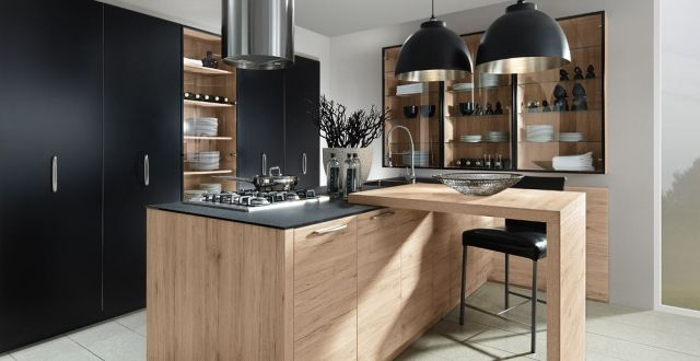 Moderne Schröder Küche Holz Schwarz Matt Esstheke Kochinsel