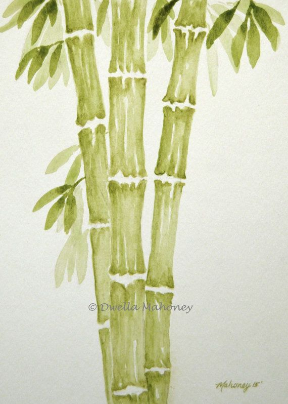 Bamboo 2 Art Print Of Original Watercolor By Dwellamahoneyart