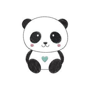 Bordado computadorizado contendo um ursinho panda fofo.