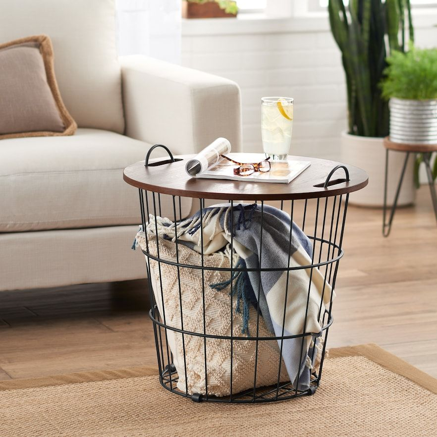 Sonoma Goods For Life Wire Basket End Table Kohls Wire Basket Decor Wire Basket Storage Farmhouse End Tables