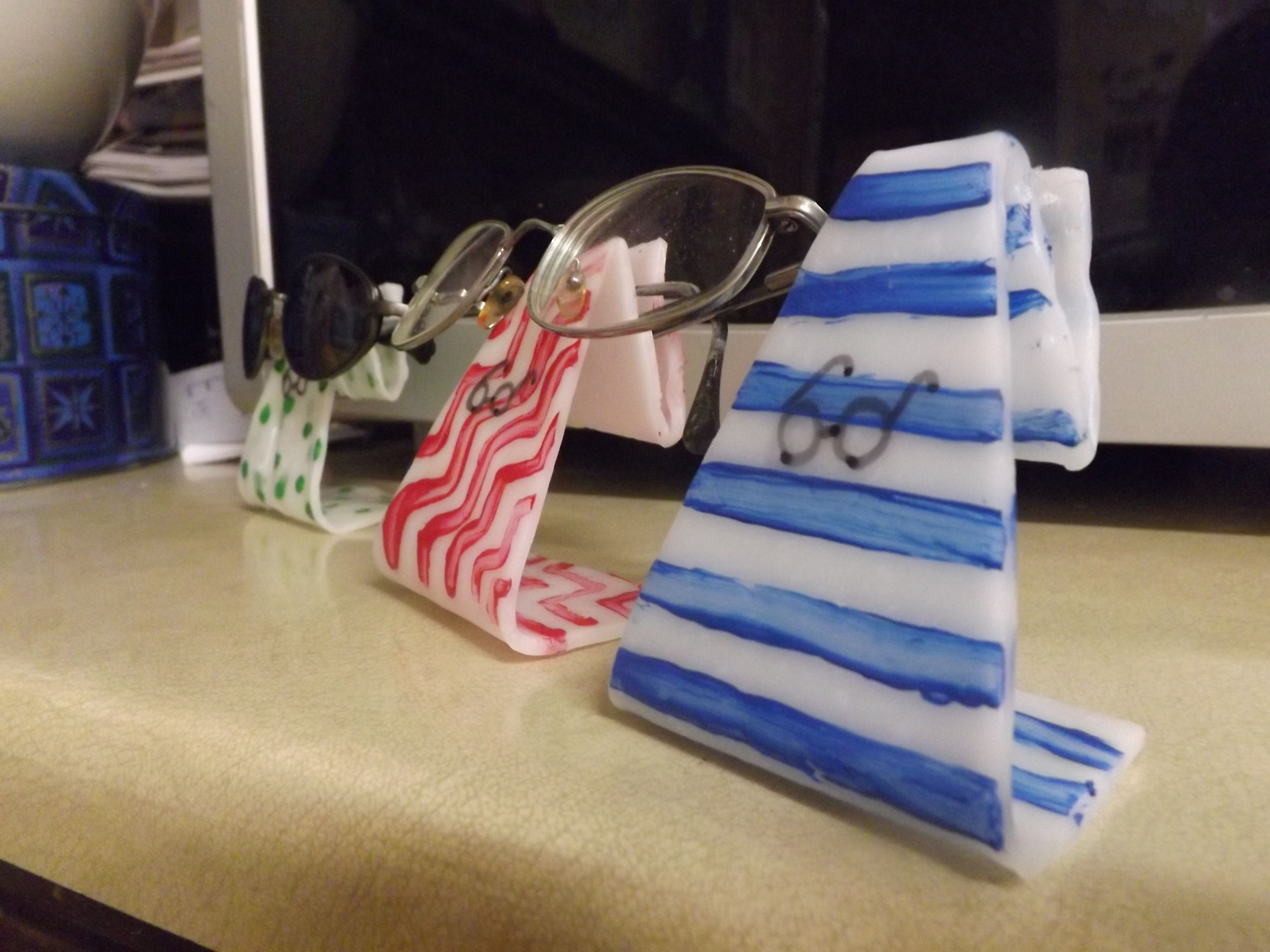c09449cf39a Make your own colorful eye glasses holder from InstaMorph moldable plastic.