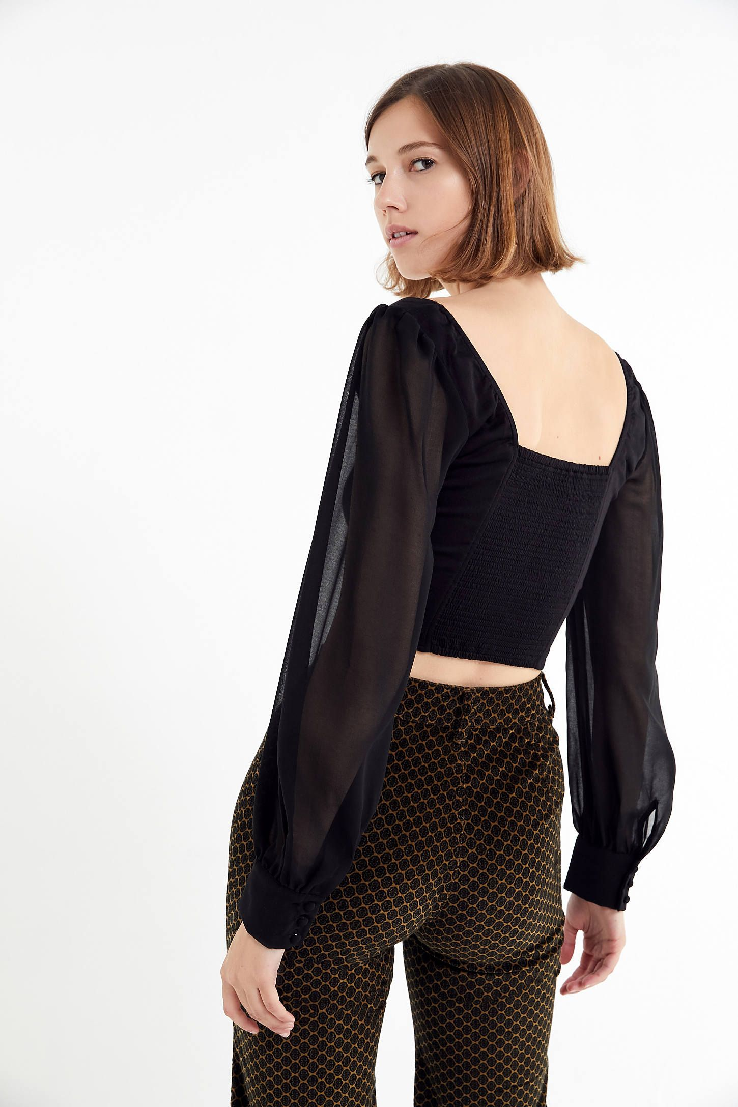 8835d6f18d UO Lena Sheer Sleeve Square Neck Blouse in 2019