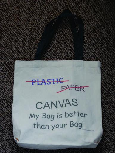 Not plastic, not paper. It's a canvas bag!