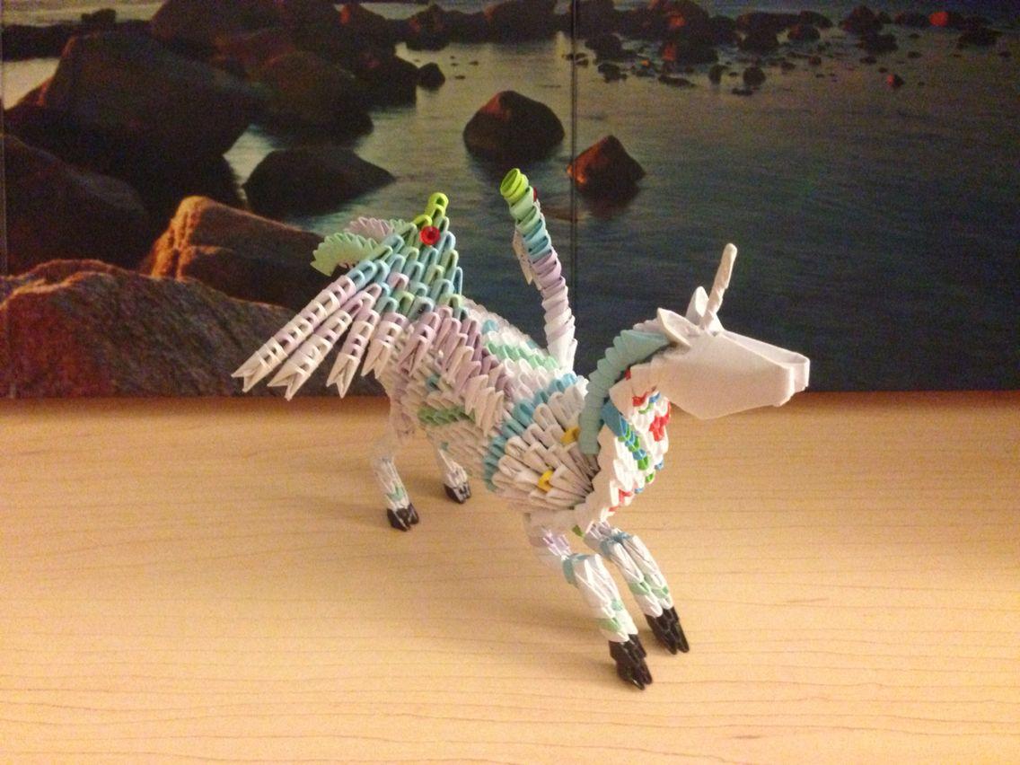 3d Origami Unicorn With Wings Or Pegasus Aka Melon Me 3 3dorigamiswandiagram Dragon Diagram Dragons On