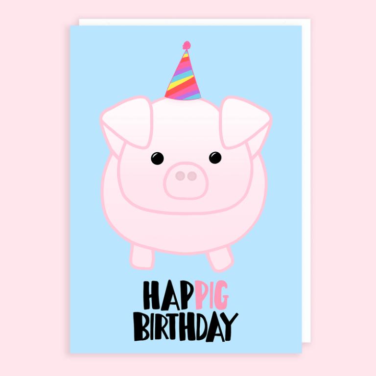 Pig Birthday Card Tori S Little Bubble Birthday Card Puns Funny Birthday Cards Card Making Birthday