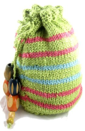 How to make Knitted Drawstring Wrist Purse - DIY Craft Project with instructions from Craftbits.com