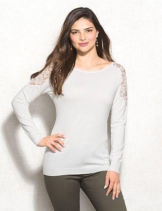 Lace-Shoulder Sweater