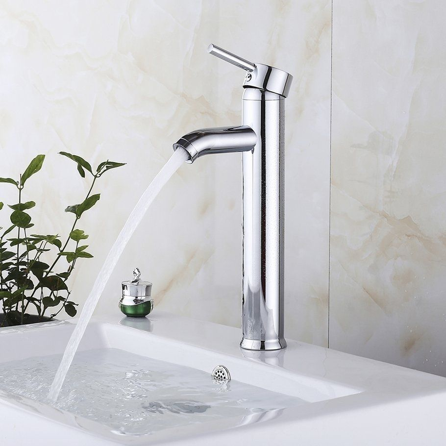 12 Inch Tall Bathroom Sink Faucet One Hole Bath Faucet Solid Brass Mixer Tap Silver Bath Faucet Bathroom Sink Faucets