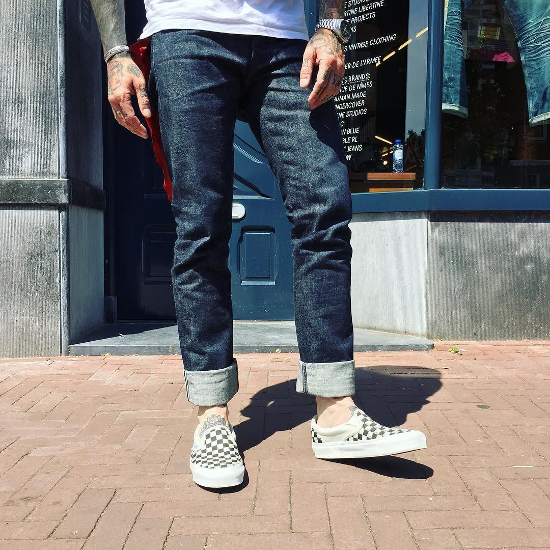 261d74b5215 ...  Made In Japan  Pablo True Blue Jeans x  vans Checker OG Volt Slip-Ons.  Perfect combination for this Summer situation! Find this gear   Tenue de  Nîmes.