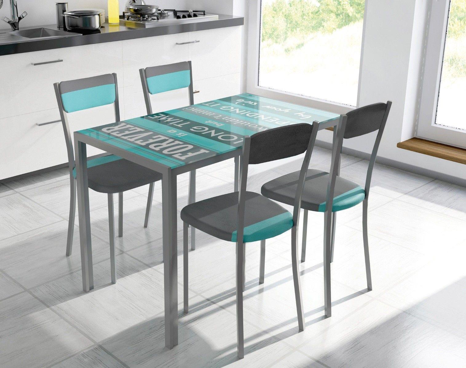 Conjunto de mesa metálica, con tapa de cristal con dibujo impreso ...
