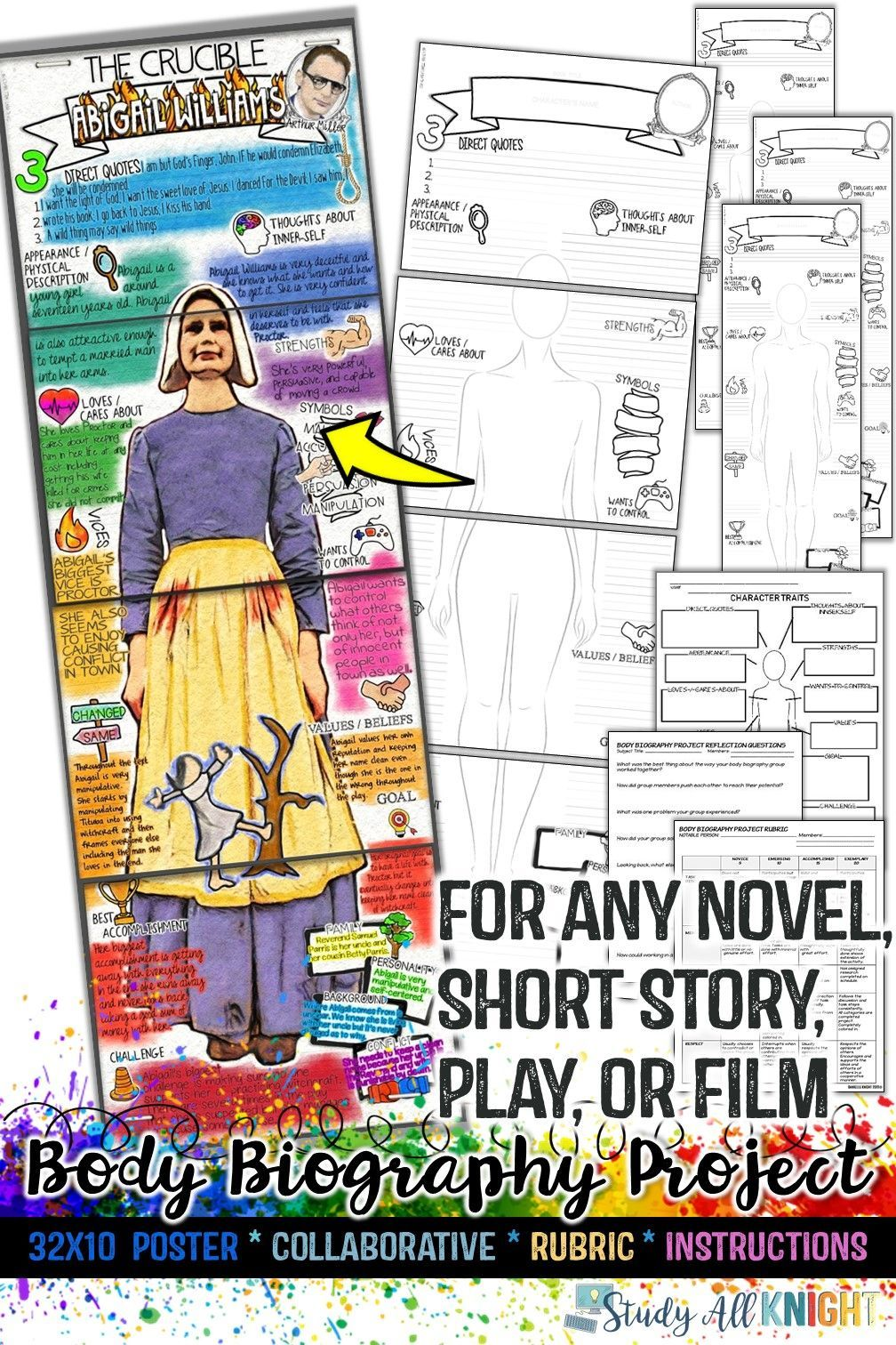 Body Biography Project Bundle, for Any Novel, Short Story, Play, or Film – High school activi