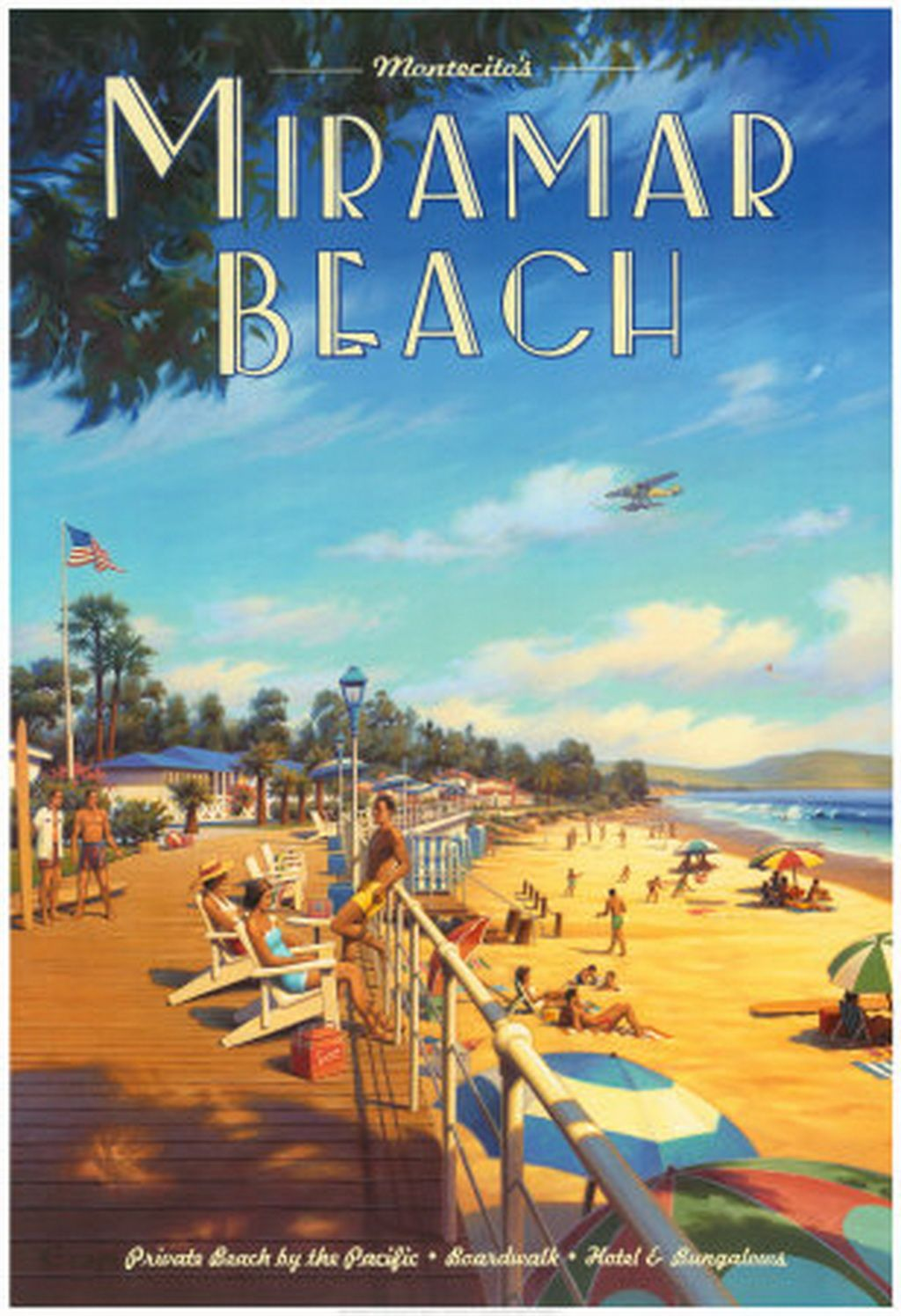 Kerne Erickson Miramar Beach Poster Vintage California Travel Visit