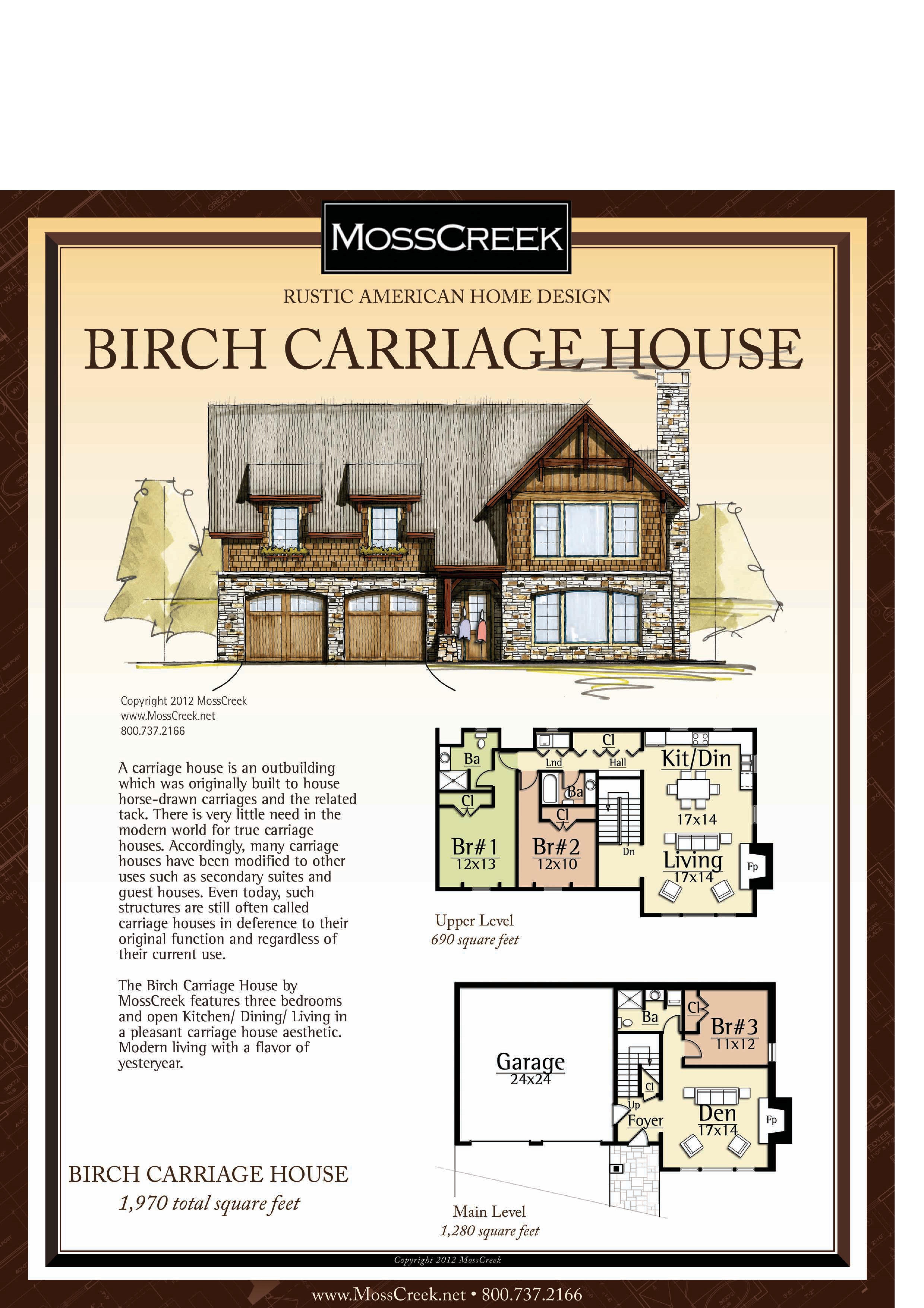 Moss Creek Birch Carriage House Houseplans
