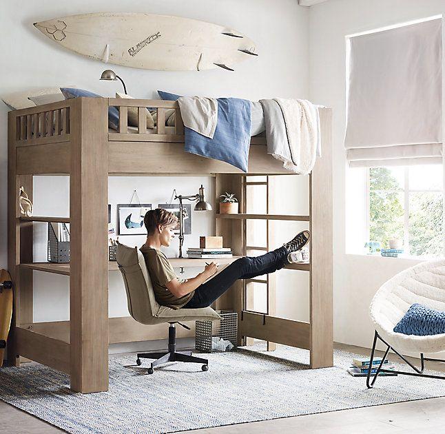 Rh Teen S Callum Full Loft Study Bed Sleep On It Defined