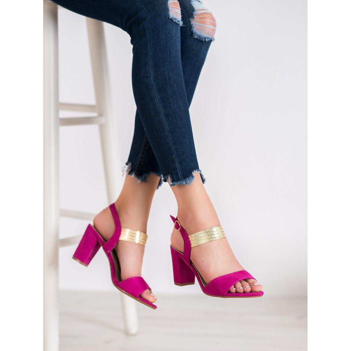Filippo Eleganckie Sandaly Na Slupku Rozowe Heels Shoes Pumps