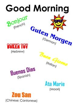 Free good morning in different languages all things school a one page poster to initiate conversation about saying good morning in other languages and a starting point for practicing greeting one another in m4hsunfo