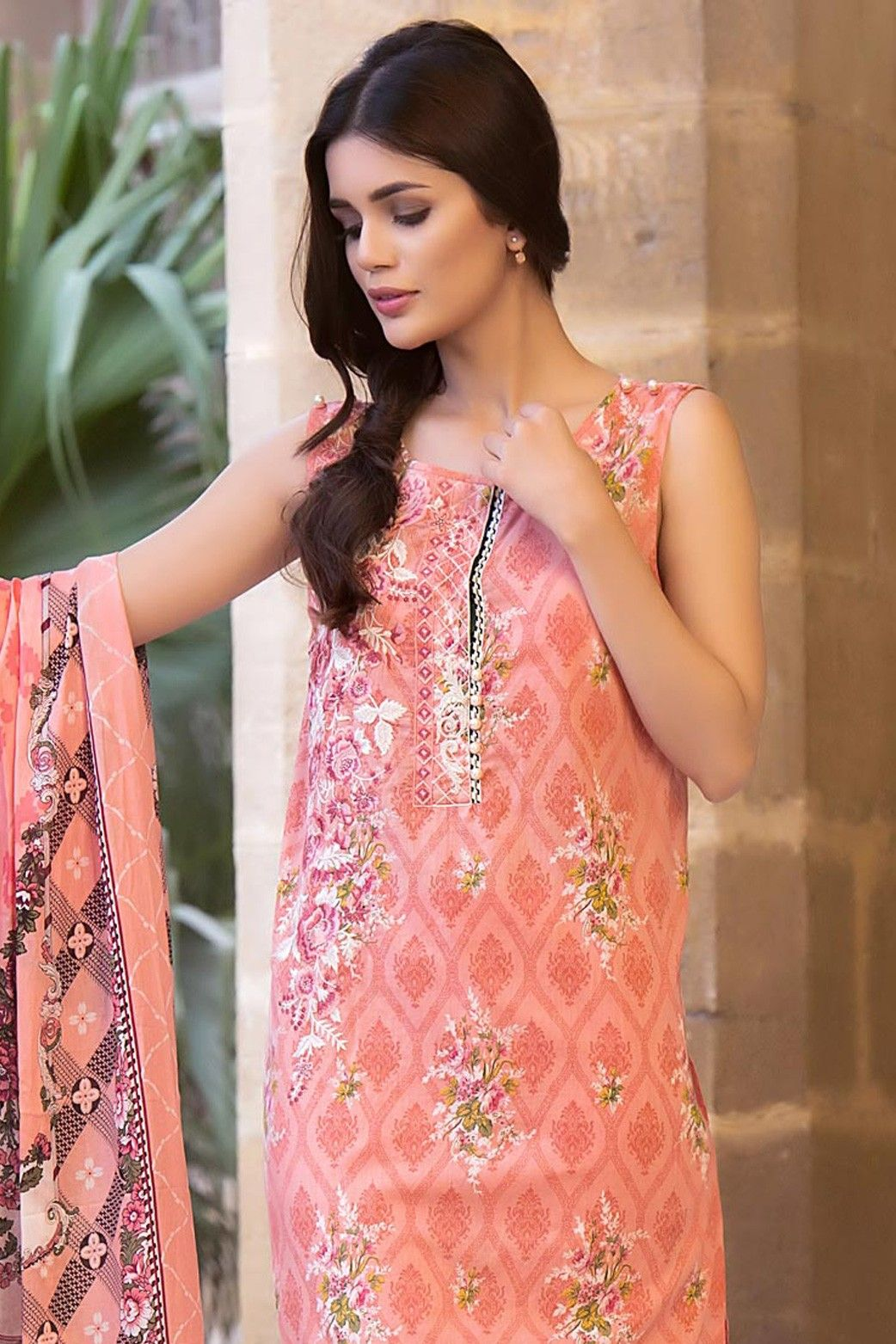 20623158cd Zeen Embroidered Unstitched Salmon Color Pakistani Lawn Suit | fashion