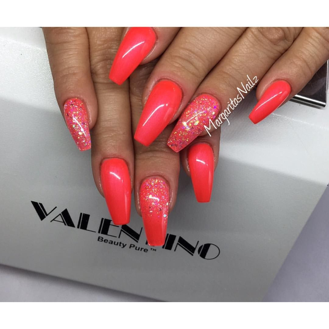 Neon orange coffin nails | Gelnägel | Pinterest | Coffin nails, Neon ...