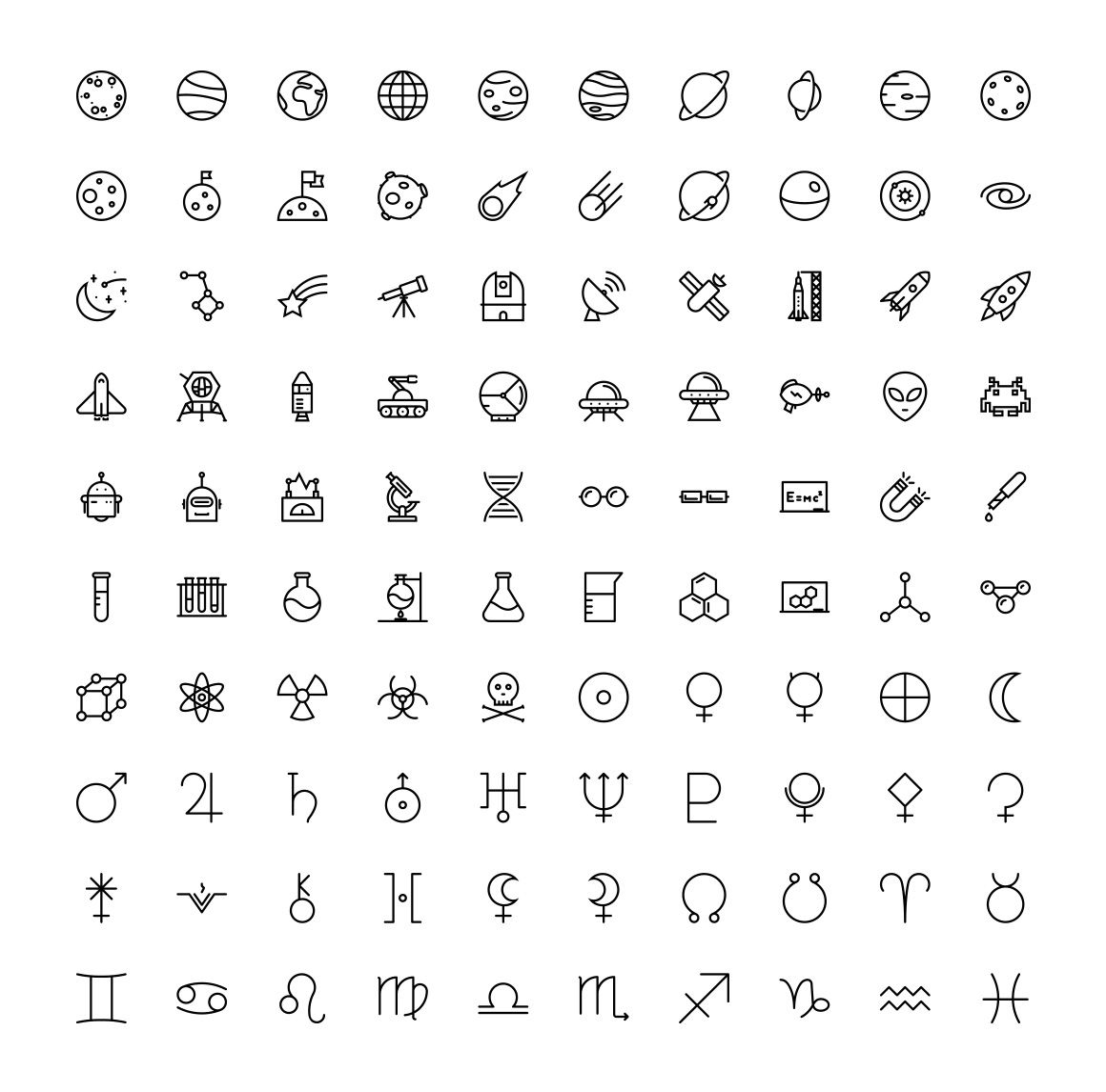 Tattoos for men download the space u science icons  by the store on creativemarket