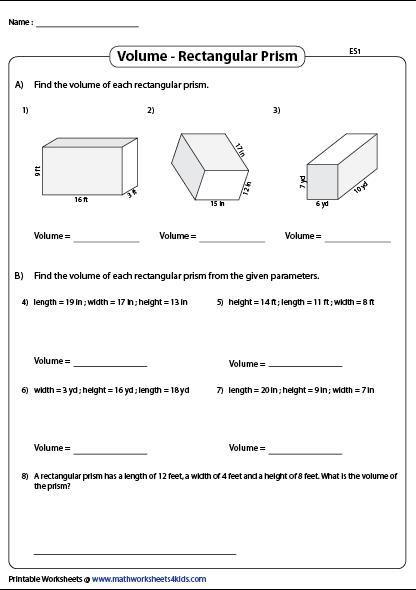 Www Mathworksheets4kids Com Volume Rectangular Prisms Php Rectangular Prism Rectangular Prisms Algebra Worksheets