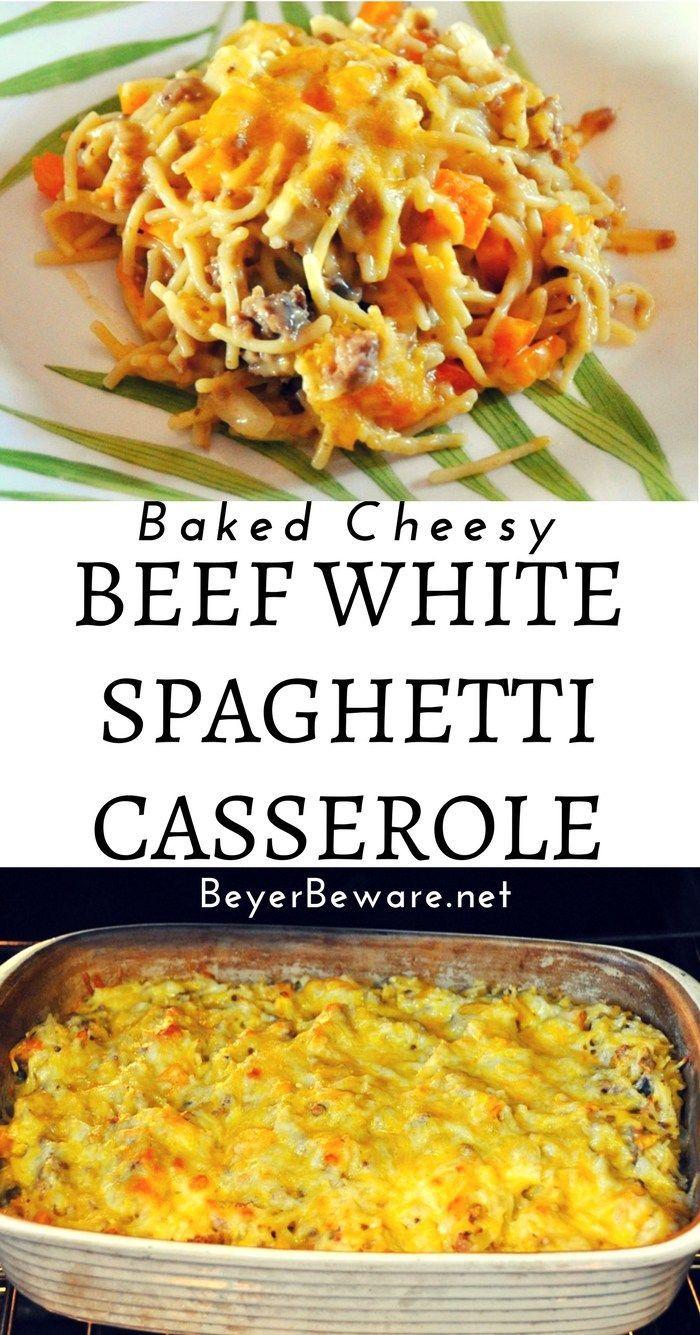 Baked Cheesy Beef White Spaghetti Casserole Recipe Transforms The Pioneer Woman S Favori White Spaghetti Recipe Beef Casserole Recipes Ground Beef Recipes Easy