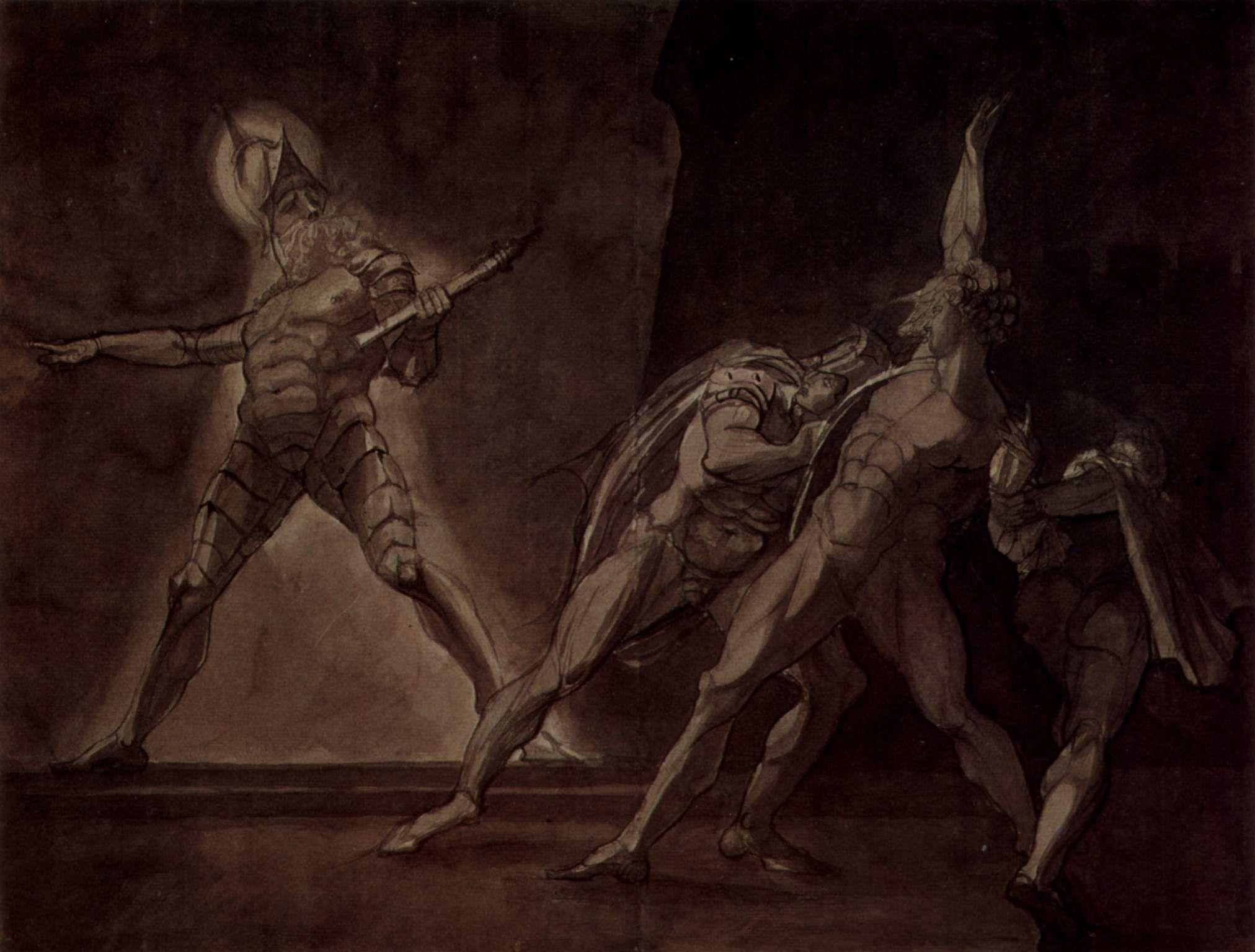 Johann Heinrich Füssli - Hamlet, Horatio und Marcellus und der Geist des toten Vaters