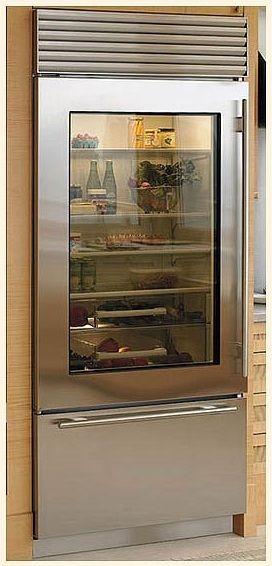 Glass Door Refrigerators Residential   ... Freezer Refrigerator Stainless  Steel Glass Door, Tubular Handles