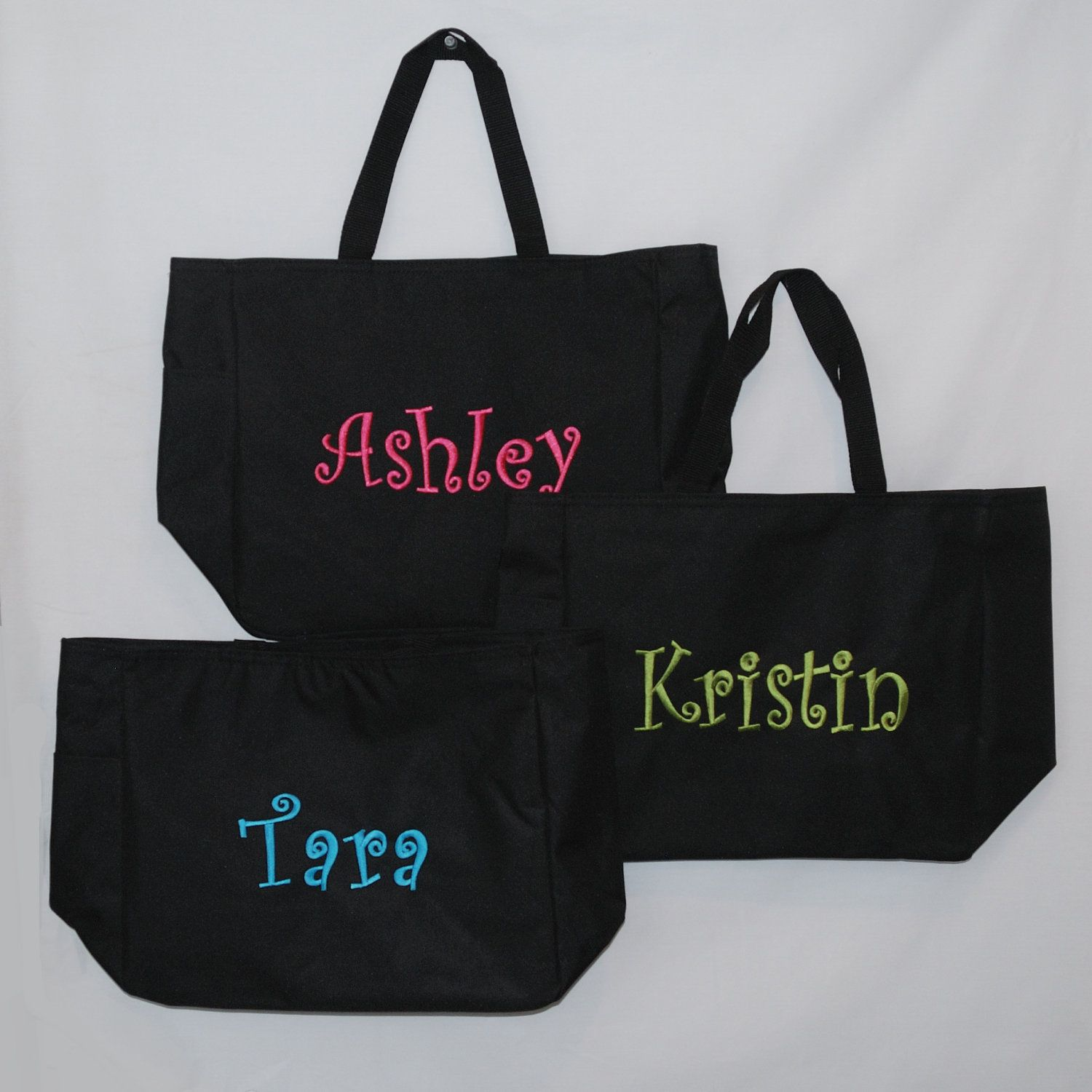 3 Large Personalized Tote Bag Beach Bag by StitchingDesigns. $45.00, via Etsy.