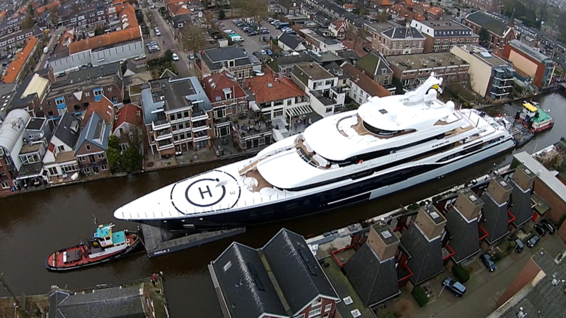 Typical Dutch Biggest Yacht Ever Made In Holland On Its Way To