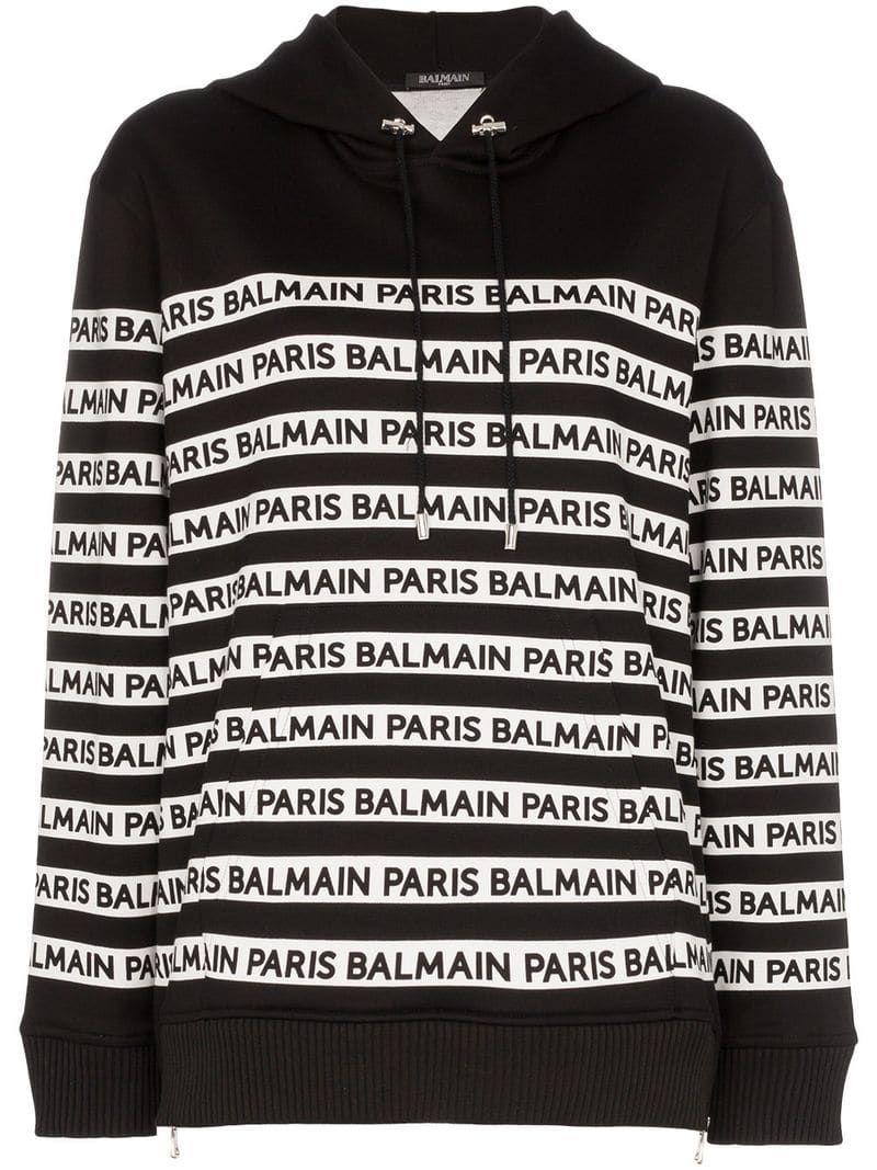 Balmain logo print tape cotton hoodie Black