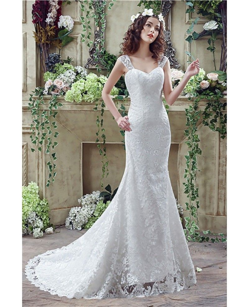Princess Fitted Trumpet Wedding Dress All Lace With Straps #H76019 ...