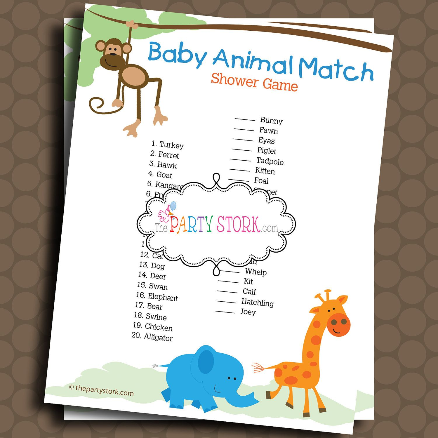 Safari Baby Shower Games Printable Baby Animal Match Game Monkey Giraffe Jungle Baby Shower