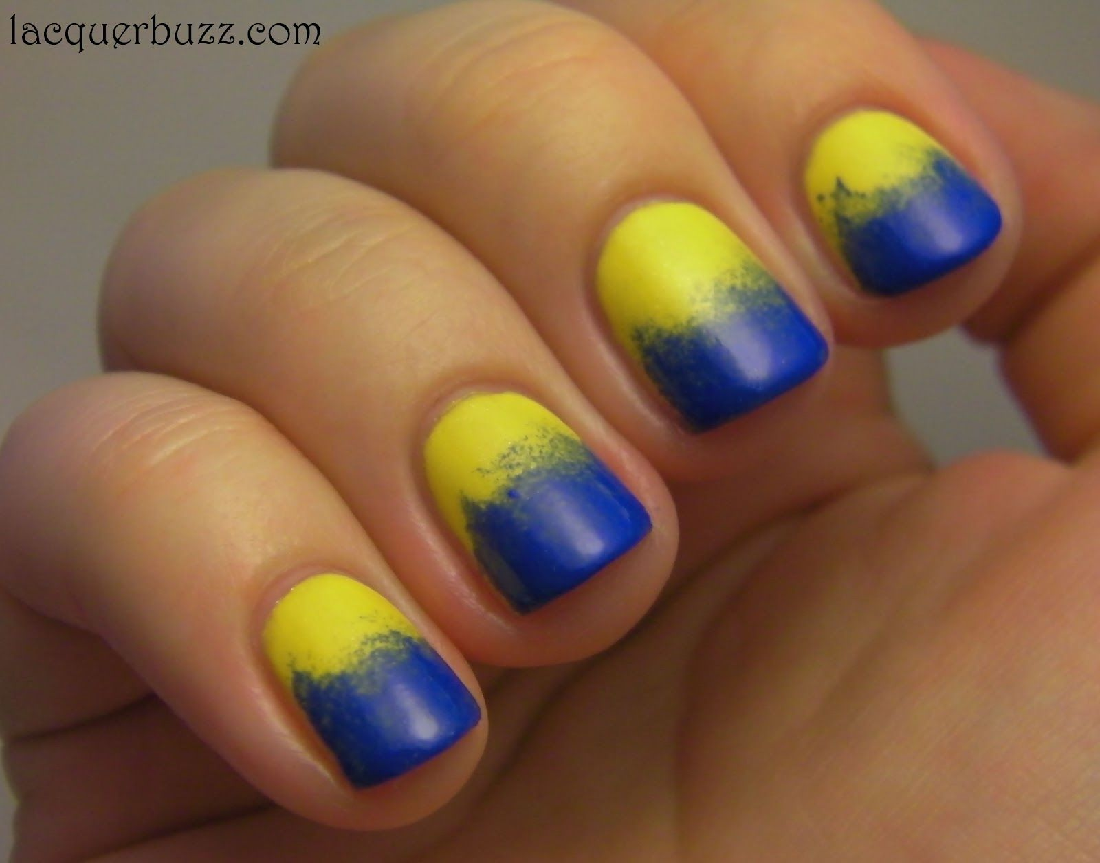 Lacquer Buzz Blue Ombre Nails Yellow Nails Ombre Nails