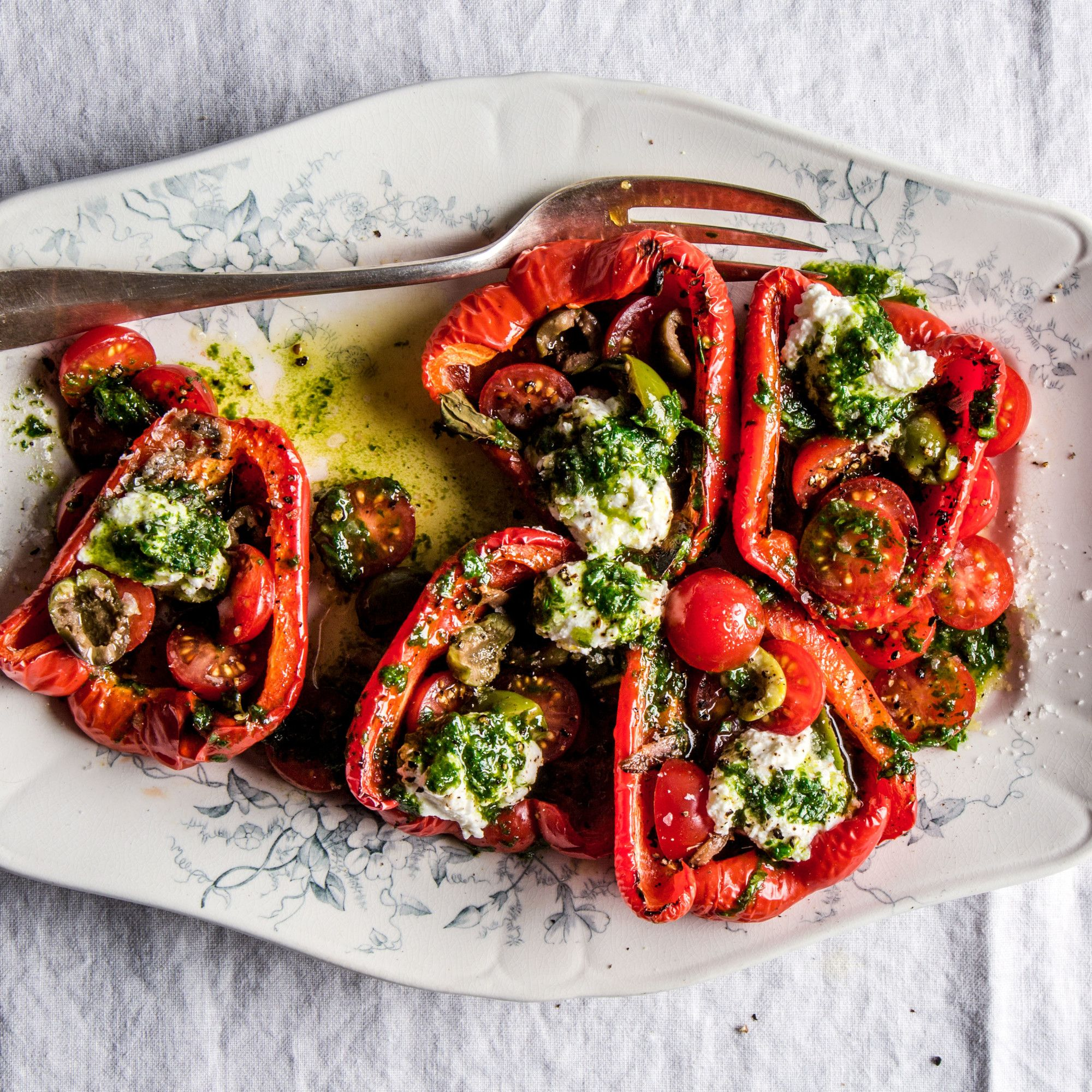 Roasted Red Peppers And Cherry Tomatoes With Ricotta Recipe Recipe Stuffed Peppers Roasted Red Peppers Recipes Hot Pepper Recipes