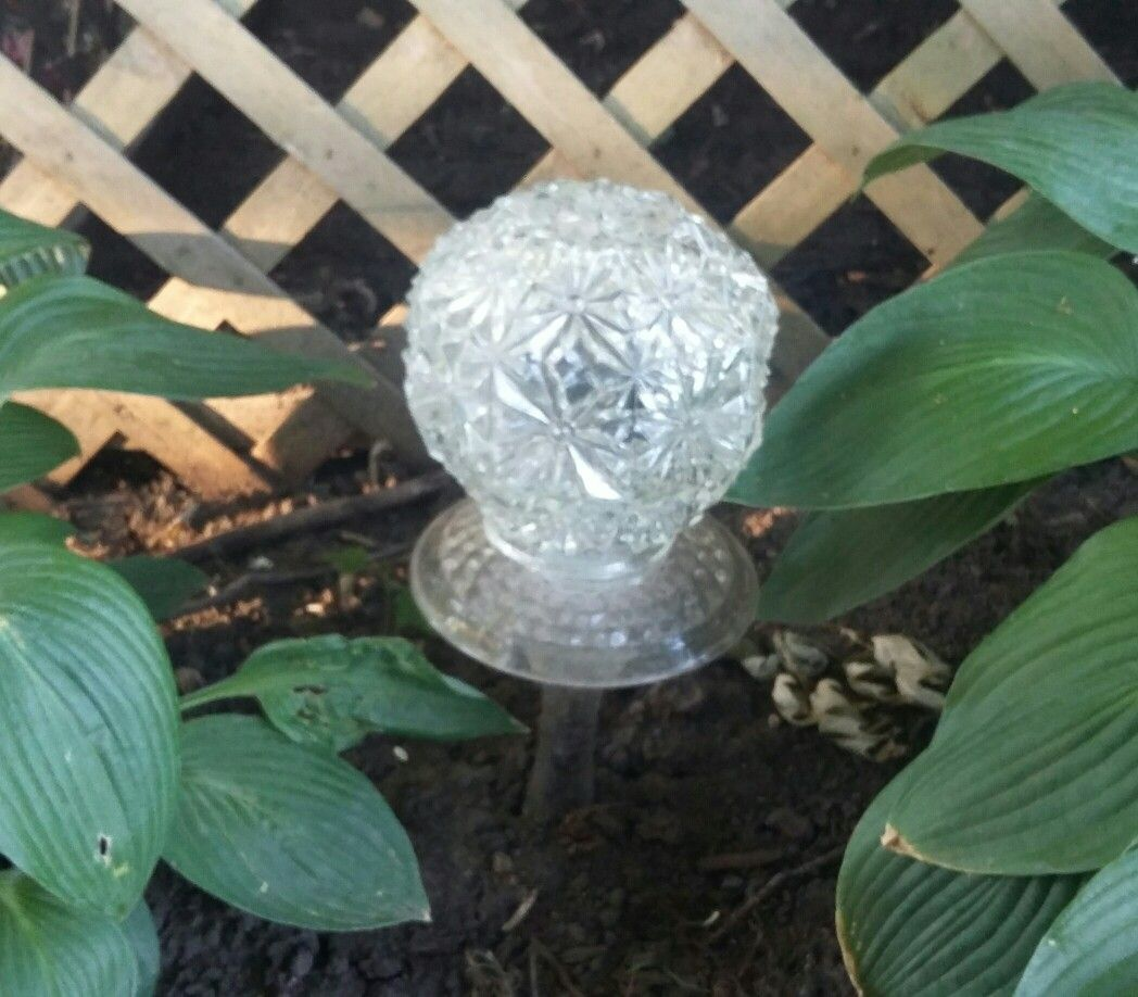 Vintage Glass Light Globe Turned Into A Solar Garden Light.