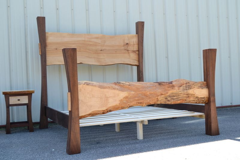 Bedroom Sets With Posts custom made live edge maple king size bed with walnut posts and