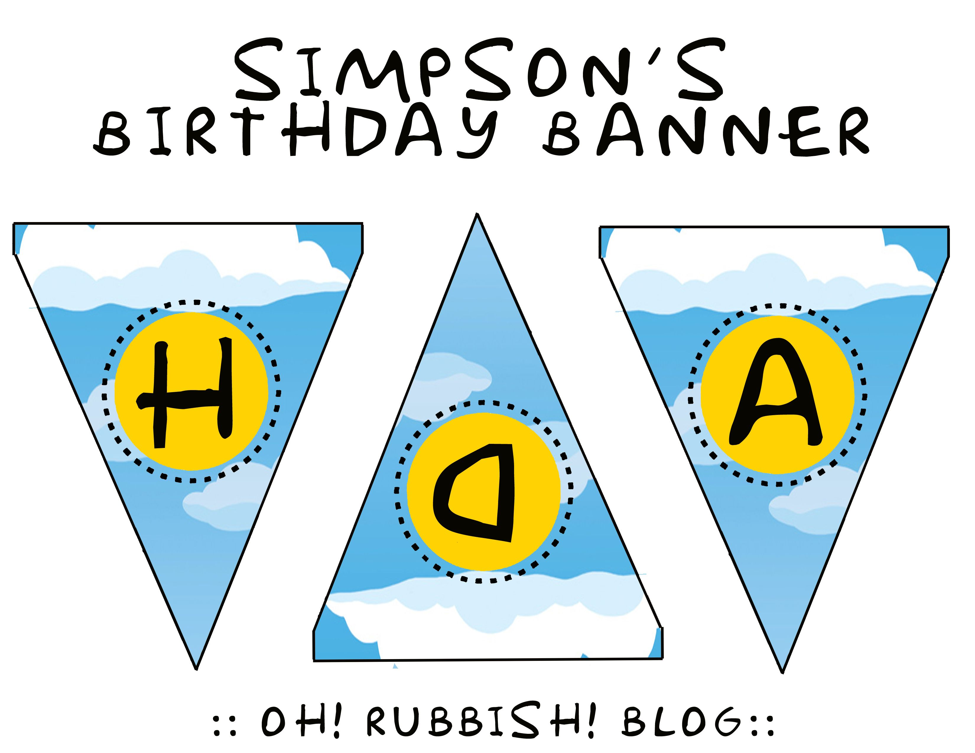 Simpson S Birthday Banner Printable By Oh Rubbish Blog