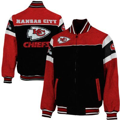 Kansas City Chiefs Knockout Full Zip Suede Jacket - Black/Red
