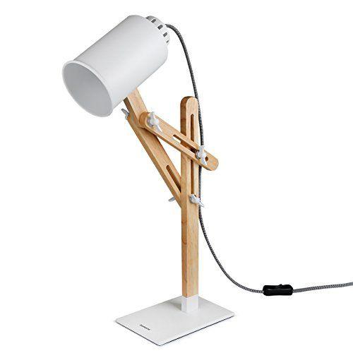 Tomons Lampe De Table En Bois Led Lampe De Bureau Chevet Lecture Pliable Reglable Lumiere Eclairage Mode Vintage Lampe De Bureau Led Lampe Bois Lampe De Bureau