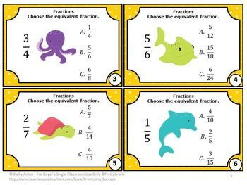 FREE Equivalent Fractions Task Cards 4th 5th Grade Math Center Games: You will receive 6 free task cards where students are given a fraction and must choose the equivalent fraction among three choices. They work well as a math review, test prep or as a quick formative assessment. You will also receive a student response form and answer key.    CCSS.Math.Content.4.NF.A.1
