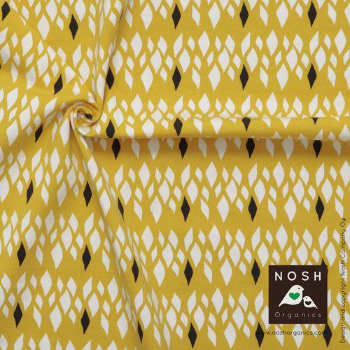 Yellow Salmiakki print designed for NOSH by Annika Hiltunen. Soft organic cotton jersey fabric.